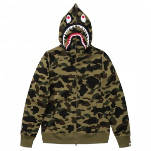 A Bathing Ape Men 1st Camo Shark Full Zip Hoodie (green)