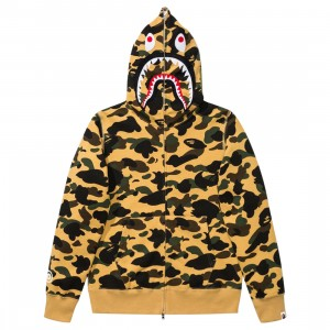 A Bathing Ape Men 1st Camo Shark Full Zip Hoodie (yellow)