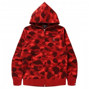 A Bathing Ape Men Color Camo Ape Head One Point Full Zip Hoodie (red)