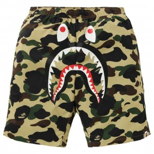 A Bathing Ape Men 1st Camo Shark Beach Pants (yellow)