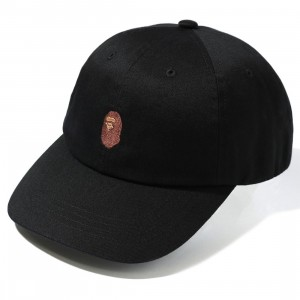 A Bathing Ape Ape Head One Point Panel Cap (black)