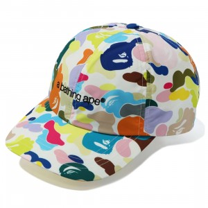 A Bathing Ape Multi Camo Embroidery Panel Cap (white)