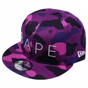 A Bathing Ape Color Camo New Era Snap Back Cap (purple)