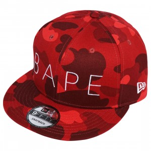 A Bathing Ape Color Camo New Era Snap Back Cap (red)