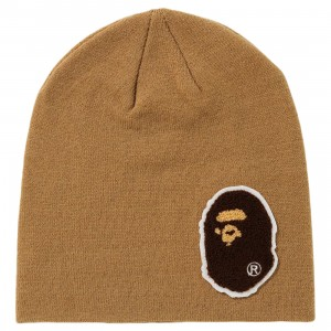 A Bathing Ape Big Ape Head Knit Cap (beige)