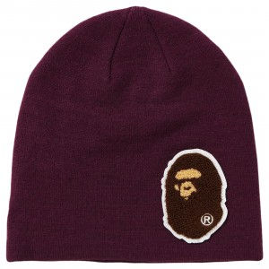 A Bathing Ape Big Ape Head Knit Cap (purple)