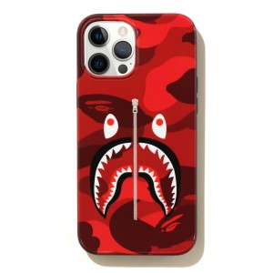 A Bathing Ape Color Camo Shark iPhone 12 Pro Max Case (red)
