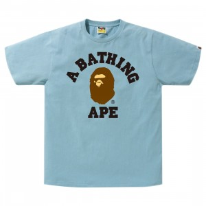 A Bathing Ape Men College Tee (blue / sax)
