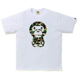 A Bathing Ape Men ABC Camo Big Baby Milo Tee (white / green)