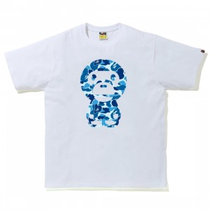 A Bathing Ape Men ABC Camo Big Baby Milo Tee (white / blue)
