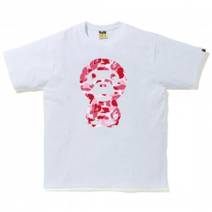 A Bathing Ape Men ABC Camo Big Baby Milo Tee (white / pink)