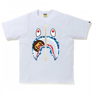 A Bathing Ape Men ABC Camo Milo Shark Tee (white / blue)