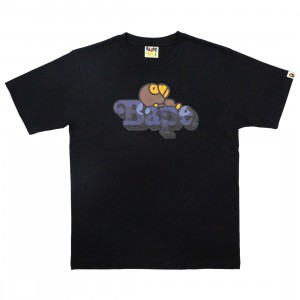 A Bathing Ape Men Color Camo Milo On Bape Tee (black / navy)