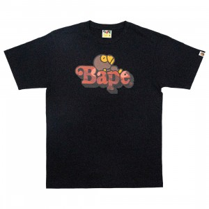 A Bathing Ape Men Color Camo Milo On Bape Tee (black / red)