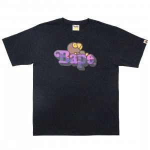A Bathing Ape Men Color Camo Milo On Bape Tee (black / purple)