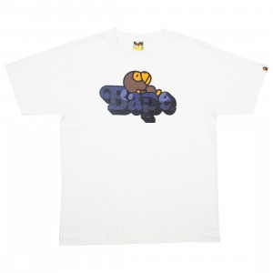 A Bathing Ape Men Color Camo Milo On Bape Tee (white / navy)