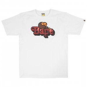A Bathing Ape Men Color Camo Milo On Bape Tee (white / red)