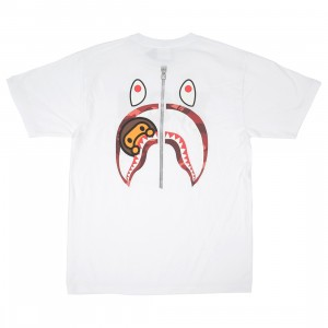 A Bathing Ape Men Color Camo WGM Milo Shark Tee (white / red)