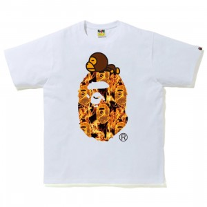 A Bathing Ape Men Bape Flame Milo On Big Ape Tee (white / orange)