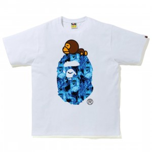 A Bathing Ape Men Bape Flame Milo On Big Ape Tee (white / sax)