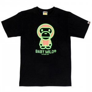 A Bathing Ape Men Neon Baby Milo Tee (black / orange)