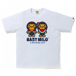 A Bathing Ape Men Color Camo Milo Water Melon Summer Tee (white)