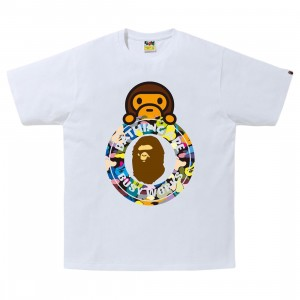A Bathing Ape Men Multi Camo Milo Busy Works Tee (white)