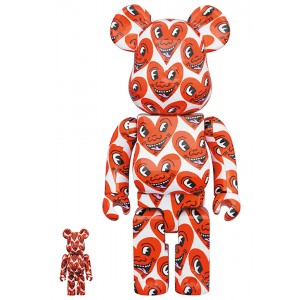 PREORDER - Medicom Keith Haring #6 100% 400% Bearbrick Figure Set (red)