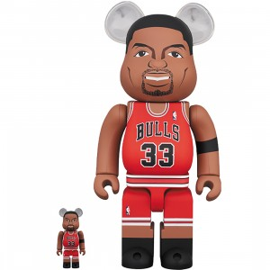 PREORDER - Medicom NBA Chicago Bulls Scottie Pippen 100% 400% Bearbrick Figure Set (red)