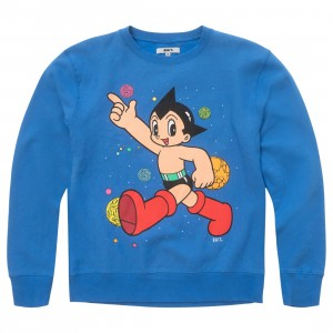 BAIT x Astro Boy Men Space Puff Print Premium Crewneck Sweater (blue)