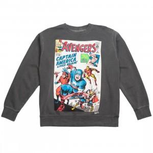 BAIT x Marvel Men Avengers Live Again Crewneck Sweater (black / pigment dyed)
