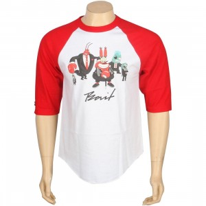 BAIT x SpongeBob Mr Krabs Raglan Tee (white / red)