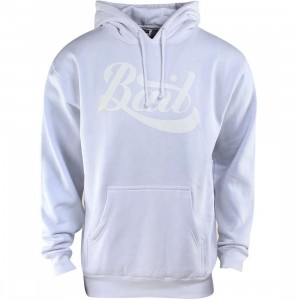 BAIT Script Logo Pullover Hoody (white / white)