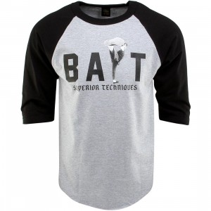 BAIT x Bruce Lee High Kick Raglan Tee (gray / heather gray / black / black)