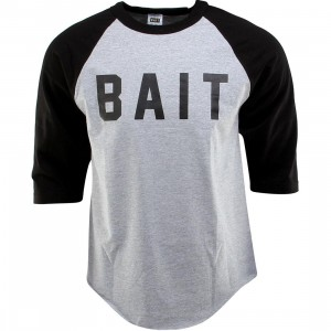 BAIT Logo Raglan Tee (gray / heather gray / black / black)