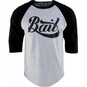 BAIT Script Logo Raglan Tee (gray / heather gray / black / black)