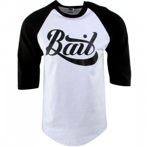 BAIT Script Logo Raglan Tee (white / black / black)