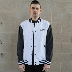 BAIT Baseball Jacket (white / charcoal)