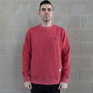 BAIT B Letter Invisible Pockets Fitted Crewneck (red)