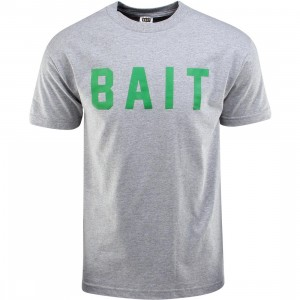 BAIT Logo Tee (gray / heather gray / green)