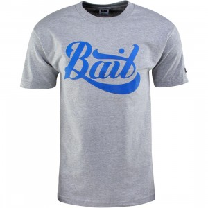 BAIT Script Logo Tee (gray / heather gray / blue)