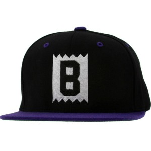 BAIT B Box Logo Snapback Cap (black / purple / black)