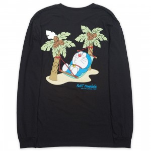 BAIT x Doraemon Men No Worries Honolulu Long Sleeve Tee (black)