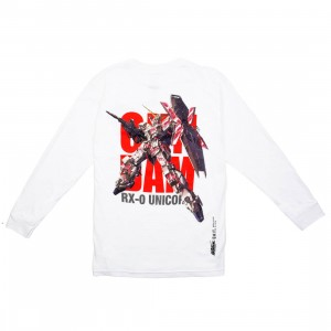 BAIT x Gundam Universe Men Unicorn Gundam Long Sleeve Tee (white)