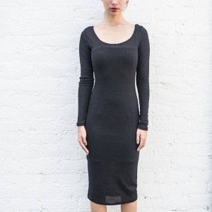 BAIT Women Body Con Dress With Inner Slip - Made in LA (black)