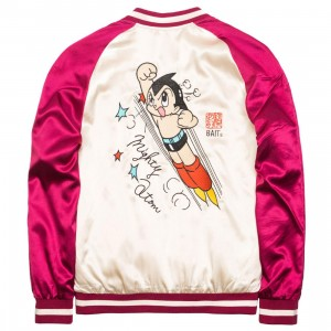 BAIT x Astro Boy Men Mighty Atom Souvenir Jacket (maroon / white)