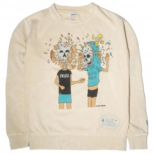 BAIT x MTV Beavis And Butthead x Gondek Men Face Explosion Crewneck Sweater (sand)