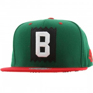 BAIT x Mitchell And Ness B Box Logo Snapback Cap (green / red)