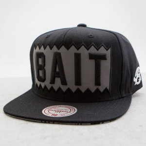 BAIT x Mitchell And Ness Box Logo Snapback Cap - 3M (black / black / white)