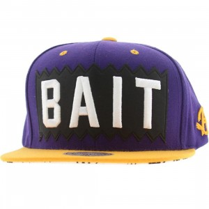 BAIT x Mitchell And Ness Box Logo Snapback Cap (purple / gold)